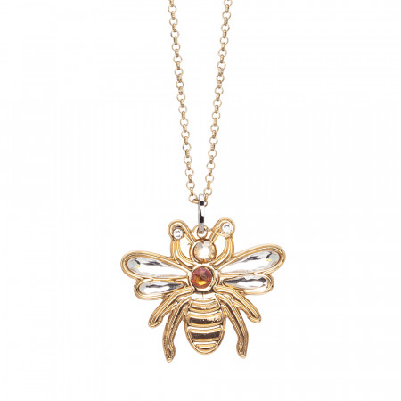 Necklace with pendant bee and Swarovski crystals