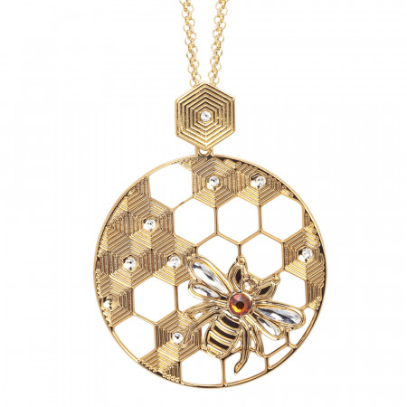Necklace with maxi circular pendant decorated with bee and Swarovski
