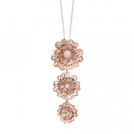 Rosé necklace with a tie-tie pendant composed of three-dimensional wild roses