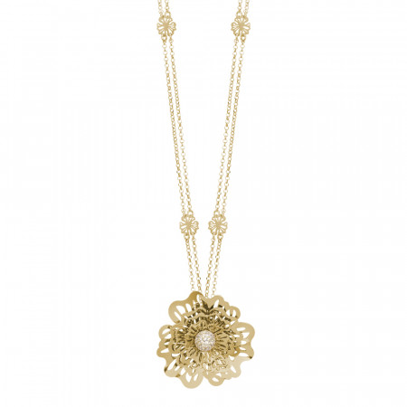Double golden wire necklace with three-dimensional wild rose pendant and zircons