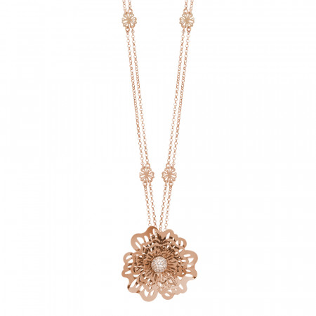 Double pink wire necklace with three-dimensional wild rose pendant and zircons