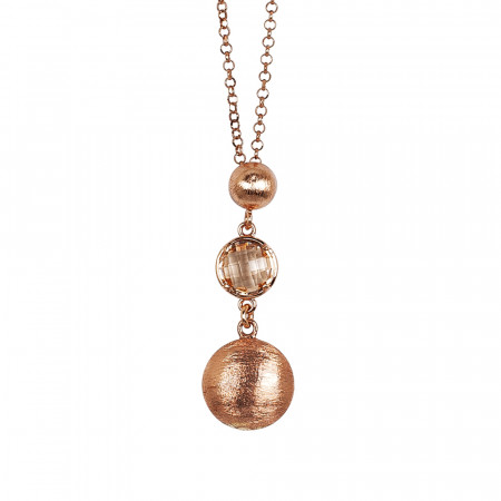 Necklace with scratched pendants and peach crystal