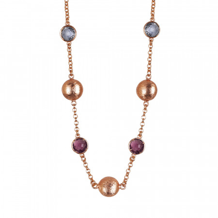 Necklace with fum and amethyst crystals and scratched elements