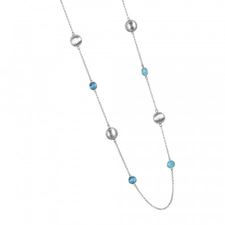 Long necklace with sky and sky blue milk crystals and scratched elements