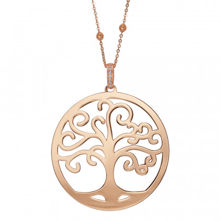 Rosé necklace with maxi pendant and tree of life