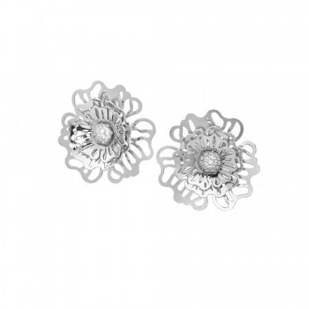 Lobe earrings with three-dimensional wild rose and zircons