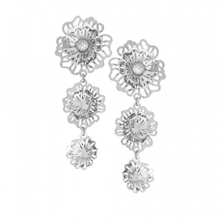 Dangle earrings with three-dimensional degraded wild roses and zircons