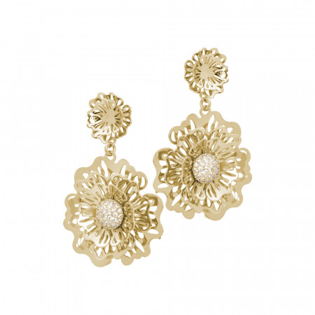 Golden earrings with wild rose and pendant zircons