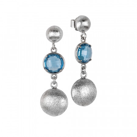 Drop earrings with sky crystals