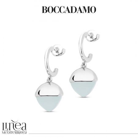 Crescent earrings with aquamarine pyramidal crystal