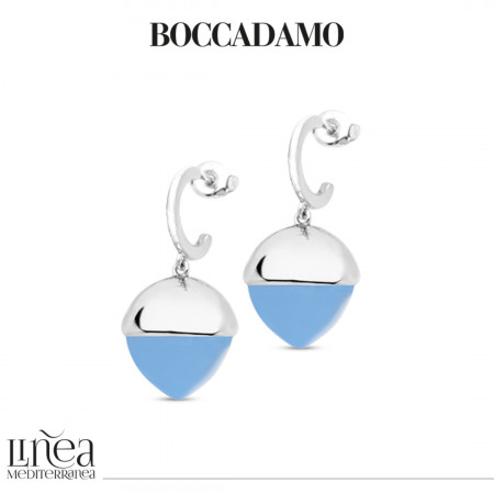 Crescent earrings with chalcedony-colored pyramidal crystal