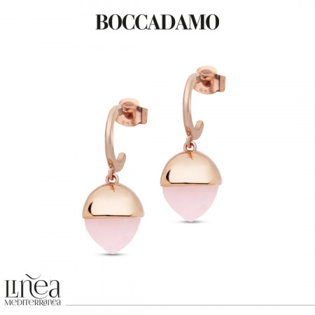 Crescent earrings with rose quartz colored pyramidal crystal