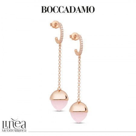 Crescent earrings with cubic zirconia and rose quartz colored crystal