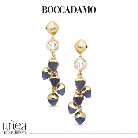 Earrings with tanzanite-colored pendant crystals