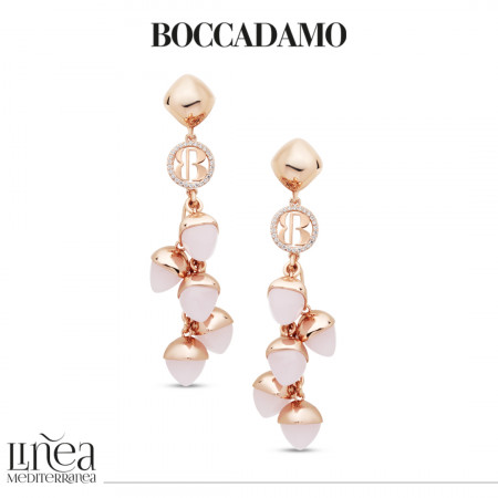 Earrings with pendant rose quartz colored crystals