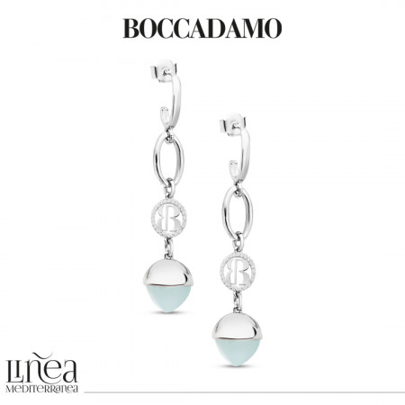 Crescent earrings with aquamarine crystal pendant