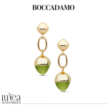 Earrings with large crystal pendant in olivine color