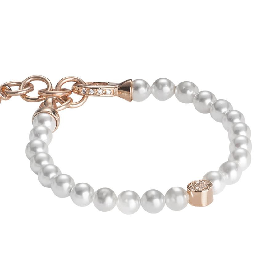 4a3b9848364f56 Bracelet rosato with Swarovski beads and central in zircons and silver
