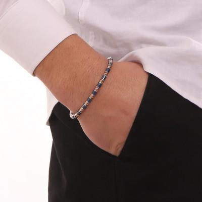Two-tone bracelet with blue ceramic