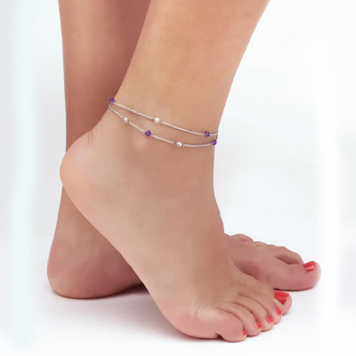 Ankle band double thread with SWAROVSKI cyclamin opal and aurora borealis