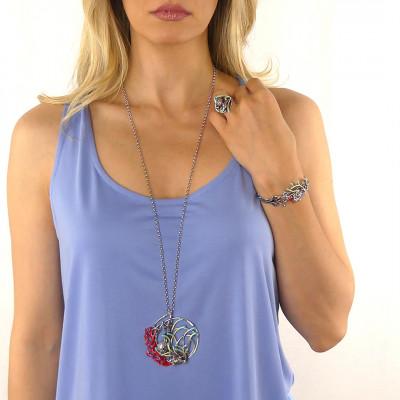 Bracelet with hand-enamelled anemones