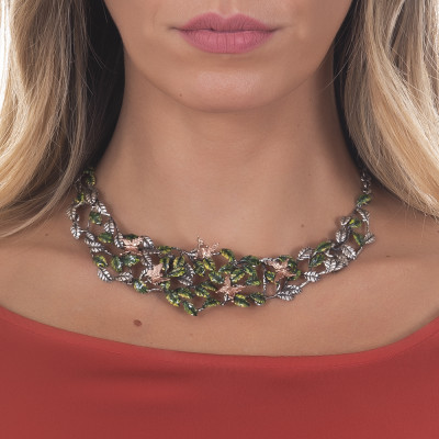 Necklace decorated with olive leaves in hand-painted burnished silver and butterflies