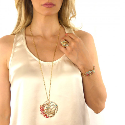 Yellow gold plated necklace with pendant decorated with enameled anemones