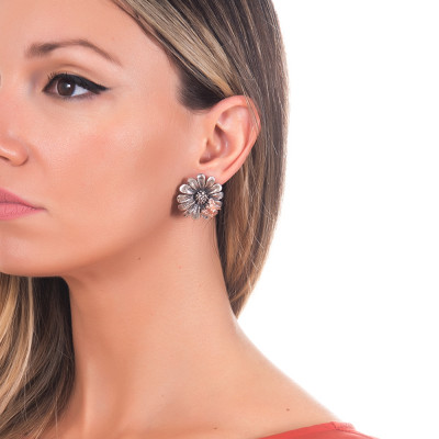 Daisy lobe earrings in burnished silver and rose gold plated bee