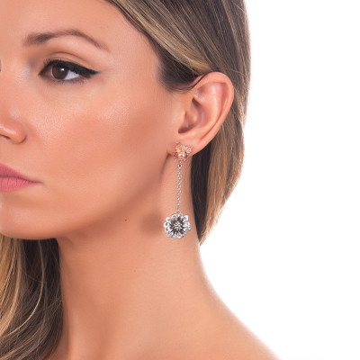 Drop earrings with apina in rose gold plated silver and burnished daisy