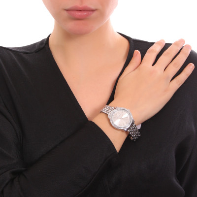 Women's silver only time watch with double Swarovski bezel