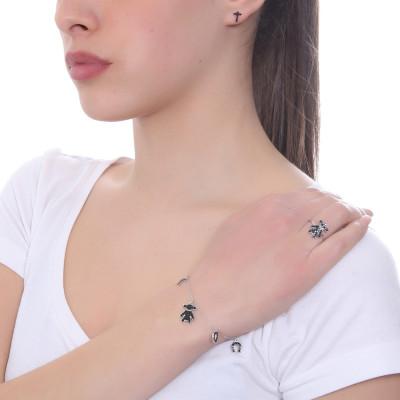 Bracelet with black zircon pendants