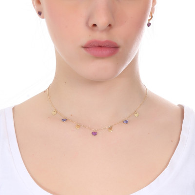 Yellow gold plated necklace with smooth hearts and zircons