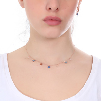 Rose gold plated necklace with smooth hearts and zircons