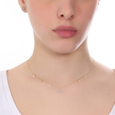 Necklace with multicolor zircon butterfly