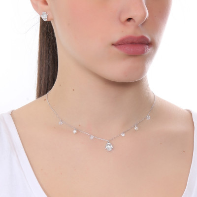 Necklace with hand of Fatima of cubic zirconia and freshwater pearls