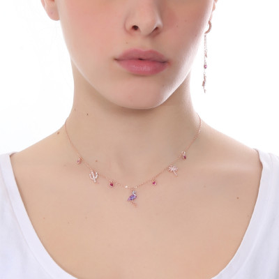 Necklace with exotic-inspired pendants with cubic zirconia