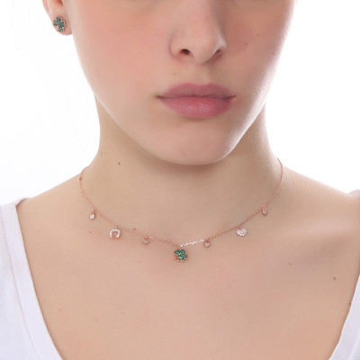 Rose gold plated necklace with green zircon four-leaf clover