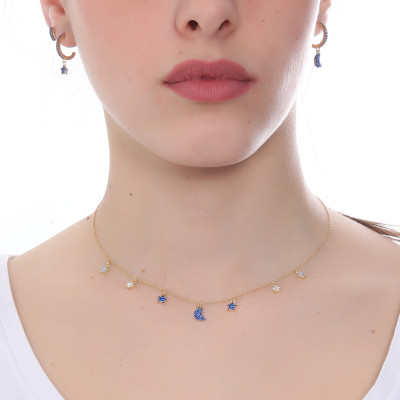 Yellow gold plated necklace with crescent and blue zircon stars