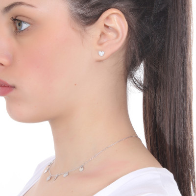 White cubic zirconia heart earring