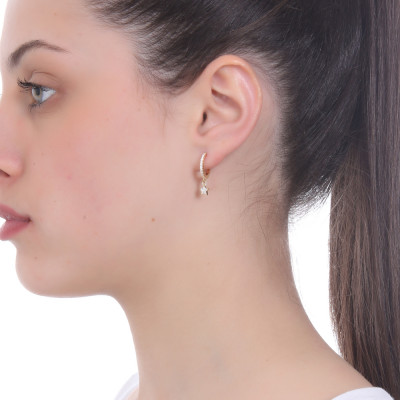 Half moon earring with white cubic zirconia star