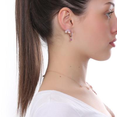 Half moon earring with fuchsia zircon star