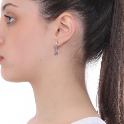 Half moon earring with cubic zirconia star