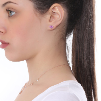 Mouth-shaped earring with fuchsia cubic zirconia