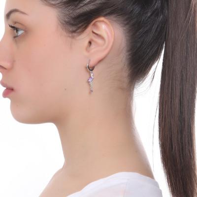 Tuffle earring with flamingo and zircon heart