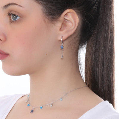 Crescent earring with star and blue zircon heart