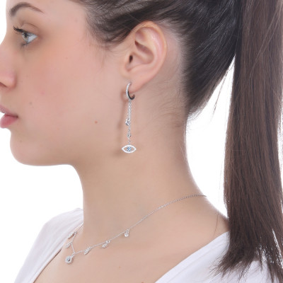 Tassel earring with Horus eye and cubic zirconia hearts