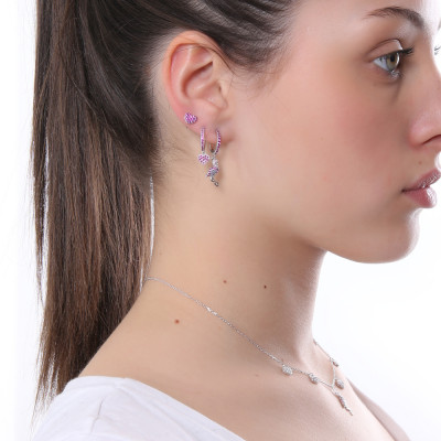 Half moon earring with heart of fuchsia cubic zirconia