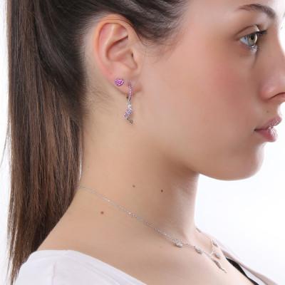 Crescent moon earring with fuchsia cubic zirconia
