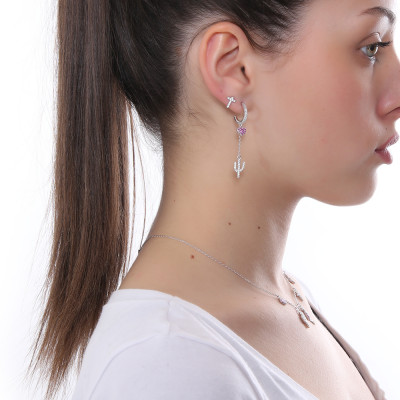 Crescent earring with heart and cubic zirconia cactus