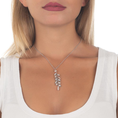 Necklace in silver pendant with bicolor bunch of zircons